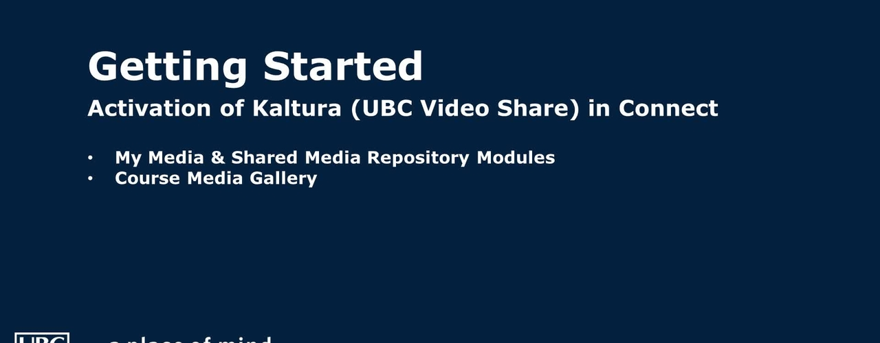 Activate Kaltura (UBC Video Share) within Connect