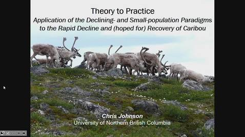 Thumbnail for entry Theory to practice: Application of the declining- and small-population paradigms to the rapid decline and hoped-for recovery of caribou across Canada. Dr. Chris Johnson, UNBC, September 13 2019