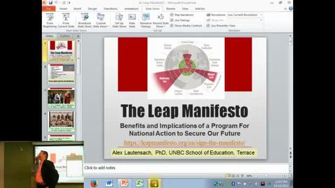 Thumbnail for entry Alex Lautensach - The Leap Manifesto What's It All About - Benefits and Implications of a Program For National Action to Secure Our Future