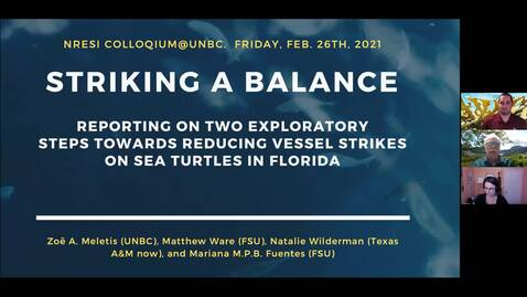 Thumbnail for entry Striking a balance - reporting on two exploratory steps towards reducing vessel strikes on sea turtles in Florida - Dr Zoe Meletis and Dr Matthew Ware - February 26 2021