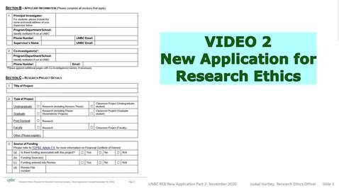 Thumbnail for entry New Application Form - Research Plans and Study Specifications