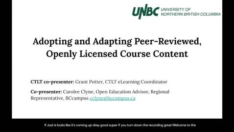Thumbnail for entry CTLT Workshop: Adopting and Adapting Peer-Reviewed, Openly Licensed Course Content - May 28 2020