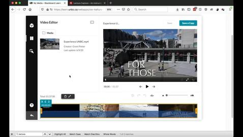 Thumbnail for entry CTLT Workshop - Editing Videos in MyMedia - June 9 2020