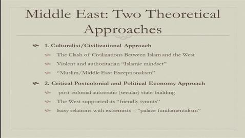 "Thumbnail for entry Middle East After the Arab Spring: On the Fallacy of ""Middle East Exceptionalism"" - Dr. Mojtaba Mahdavi ECMC Chair in Islamic Studies Associate Professor, Political Science University of Alberta - Global Fridays February 10, 2017"
