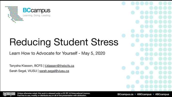 Reducing Student Stress – Learning How to Advocate for Yourself (May 5, 2020)