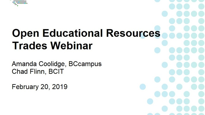 Open Educational Resources Trades Webinar