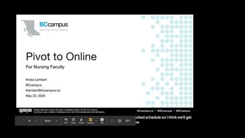 Thumbnail for entry Pivot to Online For Nursing Faculty (May 22, 2020)