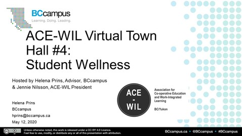 Thumbnail for entry ACE-WIL Town Hall #4 - Student Wellness