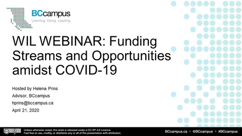 Thumbnail for entry WIL: Funding Streams and Opportunities in times of COVID19 - April 21, 2020