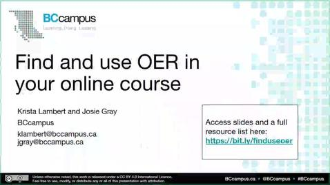 Thumbnail for entry Find and Use OER in your Online Course