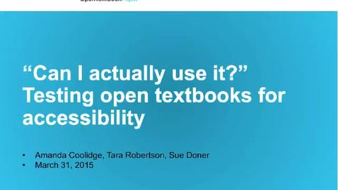 Thumbnail for entry T.e.l.l. March Summary - Testing Open Textbooks for Accessibility