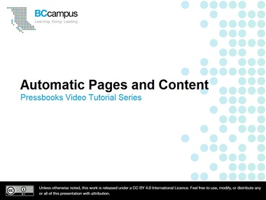 Automatic Pages and Content – Pressbooks User Guide