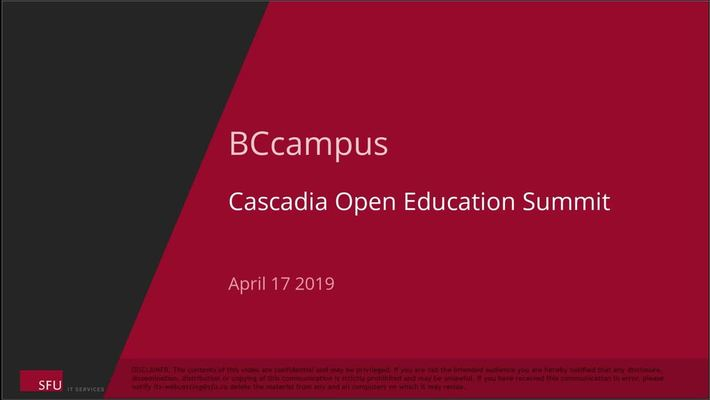 2019 Cascadia Open Education Summit - Keynote with Karen Cangialosi