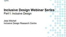 Thumbnail for entry Inclusive Design Webinar Series Part 1: Inclusive Design
