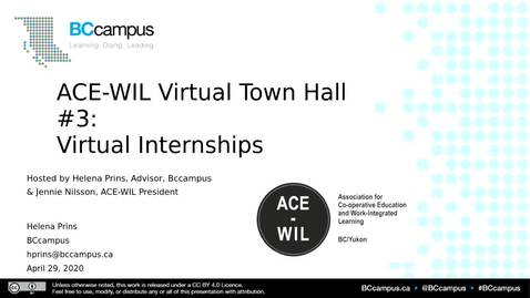 Thumbnail for entry ACE-WIL Virtual Town Hall #3 (April 29, 2020)