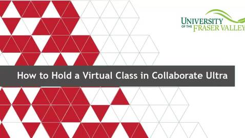 Thumbnail for entry How to Hold a Virtual Class in Collaborate Ultra