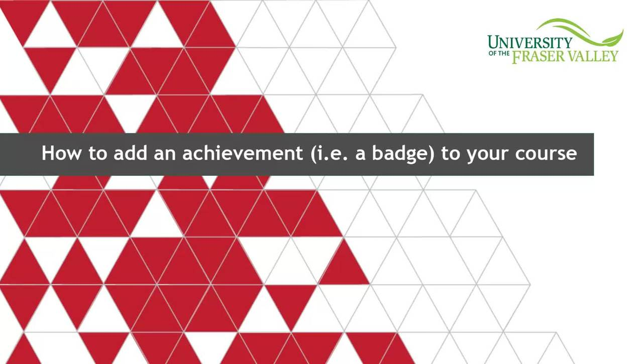 How to add an achievement (i.e. a badge) to your course