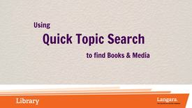 Quick Topic Search for Books and Media