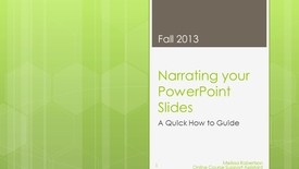 Narrating your PowerPoint Slides