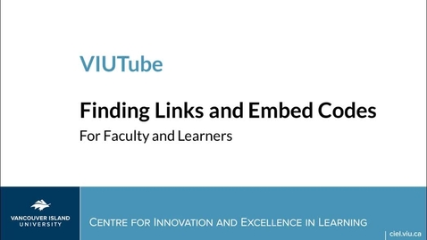 Accessing and Sharing Your VIUTube Media