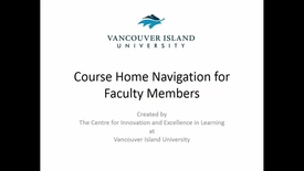 Thumbnail for entry Course Home Navigation for Faculty Members