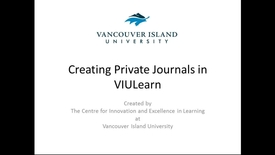 Creating Private Journals in VIULearn