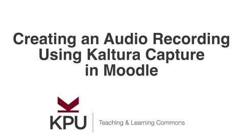 Thumbnail for entry Audio Only Recording in Kaltura Capture