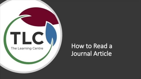 Thumbnail for entry How to Read a Journal Article