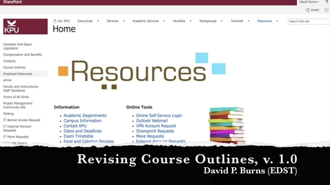 Thumbnail for entry KPU Course Outlines: revising a course outline