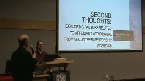 Thumbnail for entry Second Thoughts: Exploring Factors Related to Applicant Withdrawal from Volunteer Mentorship Positions by Connor Mitchell