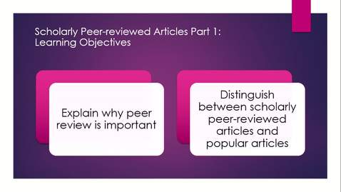 Thumbnail for entry Scholarly Articles Part One