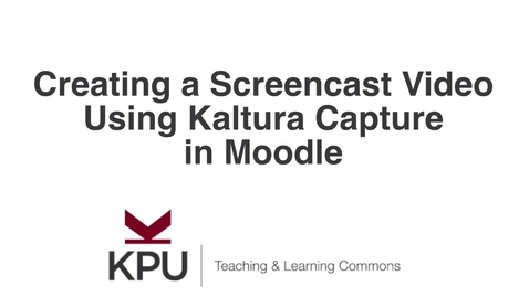 Thumbnail for entry Screencast Recording Using Kaltura Capture in Moodle