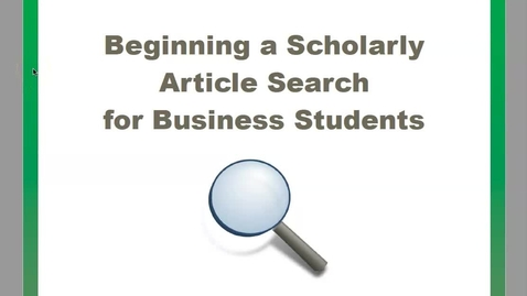 Thumbnail for entry Beginning a Search - Business