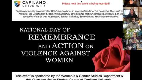 Thumbnail for entry Clip of 2020 December 6 National Day of Remembrance and Acton on Violence against Women